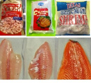 Package of Petrale Sole, Rockfish, Steelhead Trout, Shrimp, Calamari Steaks, Prawns